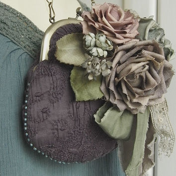hand dyed corsage and purse- rose and grape - old linen roses, mauve pink, victorian, embroidery, silk, velveteen, rose bouquet