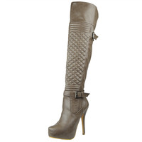 Womens Knee High Boots Quilted Front Buckle Accent Sexy High Heels Taupe SZ