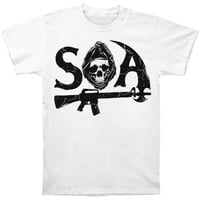 Sons Of Anarchy Men's  SOA 2 Sided T-shirt White Rockabilia