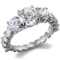 Vivianna's Round Three Stone CZ Eternity Ring-Final Sale