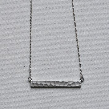 Silver Hammered Horizontal Bar Necklace