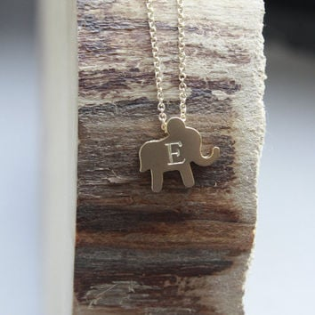 Lucky Elephant Necklace - Elephant Initial Necklace . Tiny Gold Elephant . Personalized Necklace . Baby Shower Gift . New Mom Necklace