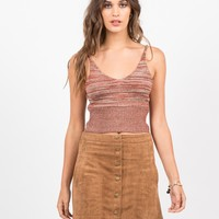 Knit Cropped Cami - Brick