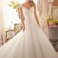 Mori Lee 2619 Lace Fit & Flare Wedding Dress. In Stock.
