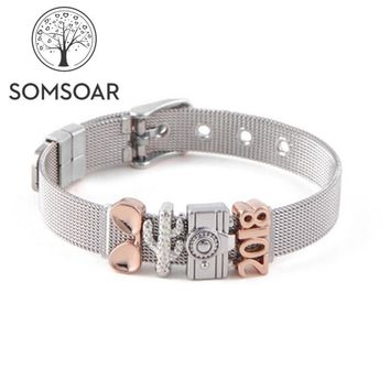 Somsoar Jewelry travel Mesh Charm Bands Bracelet & Bangle Set with glasses & cactus & camera Slide Charms as Gift