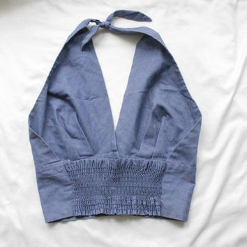 1970s Chambray Pin Up Halter Top | Vintage 70s Blue Cotton Crop Top | Small S Medium M Large L
