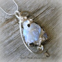 Moonstone Iridescent Wire Wrapped Pendant in Silver - June Birthstone
