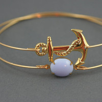 Gold Anchor and lilac vintage glass modern thin bangle set