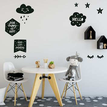 Scandinavian Decals, Black and White, Sleepy Eyes, Clouds, Arrow, Stars, Fabric Wall Decals