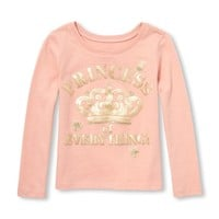 Baby And Toddler Girls Long Sleeve Glitter 'Princess Of Everything' Graphic Tee