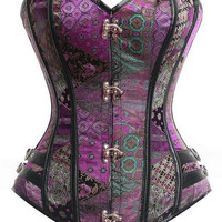 Purple Brocade Full Steel Boned Bustier Corset Shapewear
