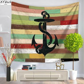 XYZLS Mediterranean Sailboat Wall Tapestry 150*200cm Polyester Compass Tapestry Anchor Beach Towel Shawl 150*130cm