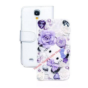 Free shippin 3D Bling Crystal Hello Kitty Flip Wallet Leather Case For Samsung Galaxy S4 Cute Phone Cases For Samsung S4 Case