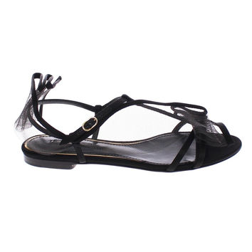 Dolce & Gabbana Black Nets Strap Flat Sandals Shoes Scarpe