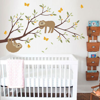 Sloths on Branch Wall Decal - Nursery, Kids room decor