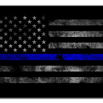 American Flag With Blue Police Line- 1 panel  xl
