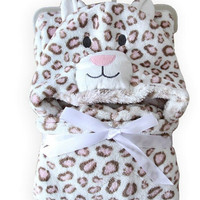 Soft Fleece Baby Coral Bag Blanket Towel Animal Shape Hooded Bathrobe Towel
