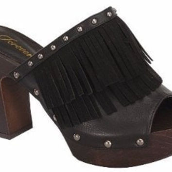 Open Toe Fringe Heeled Sandals - Black