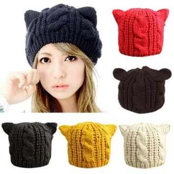 DCCKIX3 Women's Cat Ears Cute Hats lovely Beanies Winter knitted Cap [9221468228]