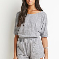 Scoop-Back Heathered Romper