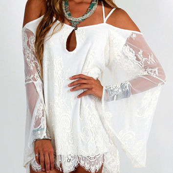 White Floral Lace Bell Sleeve Cover-up