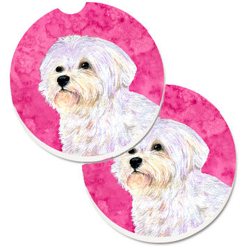 Pink Maltese Set of 2 Cup Holder Car Coasters SS4757-PKCARC