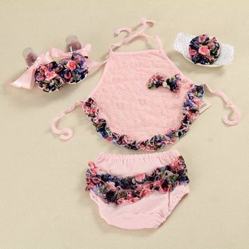 Baby Girl lace Set ;Bodysuit Baby Clothes Girl 4 pcs set  Girl short