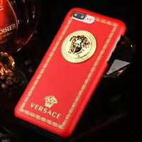 Versace Fashion New Metal Human Head Leather Women Men Protective Cover Phone Case Red