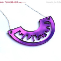Purple Necklace Skyline Laser Cut Mirror Acrylic Perspex on Sterling Silver Chain London New York Inspired