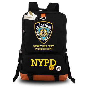 honhuiqixin New York City Police Department NYPD Backpack Laptop Backpack Black Blue school bag Daily backpack