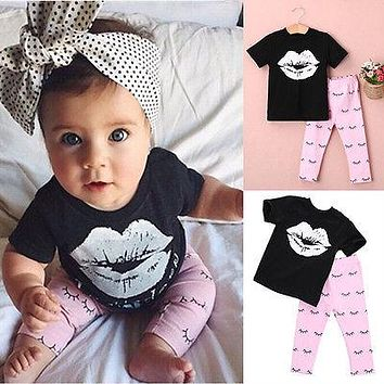 Baby Girl Lips T-shirt +Pink Infant Pants Newborn Kids Cute Cartoon Outfits Toddler Clothes Set