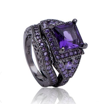 VINTAGE JEWELRY SYNTHETIC SAPPHIRE WOMEN RING AMETHYST CZ ZIRCON BLACK GOLD PLATED ENGAGEMENT PROMISE DOUBLE RINGS SET