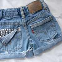 Custom Studded pocket high waisted shorts for kids/ half studded back high waisted shorts