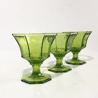 Green Glass Goblets, Set of 6 Green Independence Sherbet Glasses, Champagne Coupes