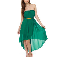 Beautiful Strapless Dress - Green Dress - High Low Hem Dress - $44.00
