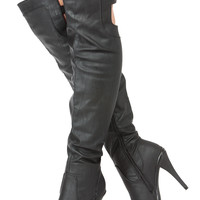 Black Faux Leather Over the Knee Platform Boots