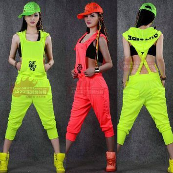 PEAPU3S 2015 New fashion Hip Hop Dance Costume performance wear European loose leopard harem jazz jumpsuit one piece Pants