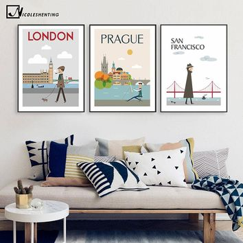 The Morning of City London New York Vintage Poster Landscape Art Canvas Painting Wall Picture Print Modern Home Room Decoration