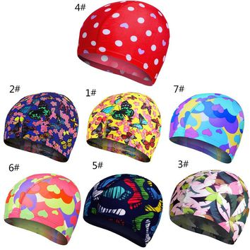 Colorful  Boys Girls Swim Pool Caps Hat Elastic Lovely Swimming Caps Women Kids Cartoon Fabric Cute Cartoon Animal Protect Ears