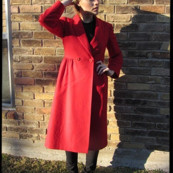 50s 60s Retro Vintage Fleurette Red Coat