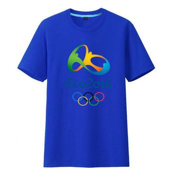 Commemorative Tees Rio 2016 Olympic Games Round Neck T-Shirt-Medium Blue