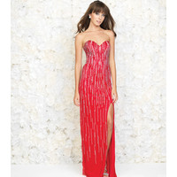 Red Strapless Linear Beaded Gown