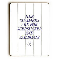 Seersuckers and Sailboats by Artist Amanda Catherine Wood Sign