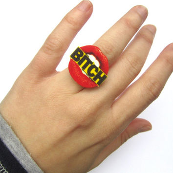 bitch ring, lips, mouth, grunge, soft grunge