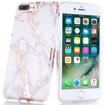 iPhone 7 Plus Case, Shiny Rose Gold White Marble Design, BAISRKE Clear Bumper Matte TPU Soft Rubber Silicone Cover