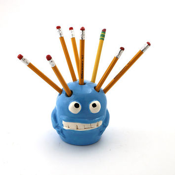 monster pencil holder, creepy cute blue meanie,  birthday gift for friend or coworker desk accessory home decor ceramic
