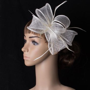 Fascinating multiple color  sinemay  fascinator headpiece r cocktail  hair accessory  feather flower suit for all season TMYQ092
