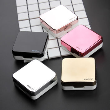 High quality reflective Cover contact lens case with mirror color contact lenses case Container cute Lovely Travel kit box Women