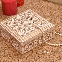 "7"" Wooden Jewelry Box Storage Keepsake Trinket Box - Shabby Chic Decorative Box"