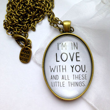 "One Direction ""Little Things"" Themed Necklace - With Lyrics ""I'm In Love With You, And All These Little Things"""